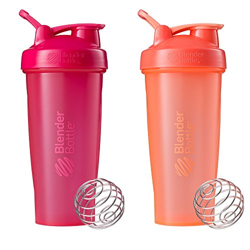Blender Bottle Classic Loop Top Shaker Bottle, 28-Ounce 2-Pack, All Pink and Coral (Pink Small Bottle Blender)