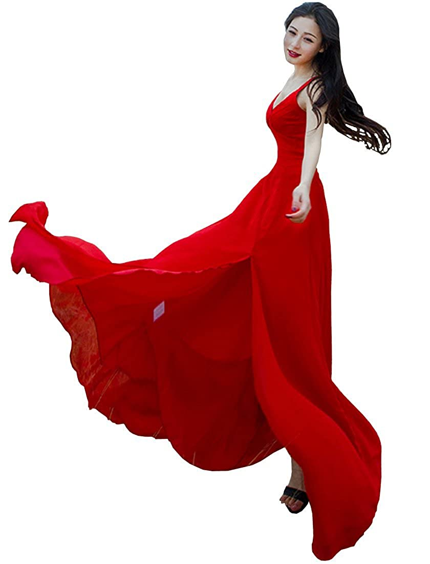 Guyu Womens Slit Strap Red Formal Maxi Dress