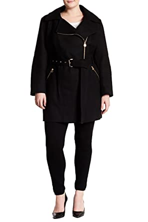 90a08ee50ad81 Image Unavailable. Image not available for. Color  Michael Kors Michael  Asymmetrical Wool Blend Coat (Plus ...