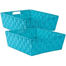 """DII Durable Trapezoid Woven Nylon Storage Bin or Basket for Organizing Your Home, Office, or Closets (Tray - 13x15x5"""") Teal - Set of 2"""