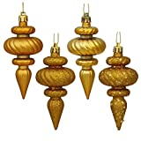 Vickerman 19486 - 4'' Antique Gold Finial Shiny Matte Glitter Sequin Christmas Tree Ornament (8 pack) (N500030)