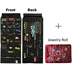 Wrapables 39-Pocket Black Polyester Hanging Jewelry Organizer with 28 Holding Loops and Large Burgundy Silk Embroidered Jewelry Roll