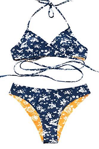 Cross Leaf Two - CUPSHE Women's Fresh Leaves Printing Cross Padding Bikini Set (Medium, Blue/Yellow)