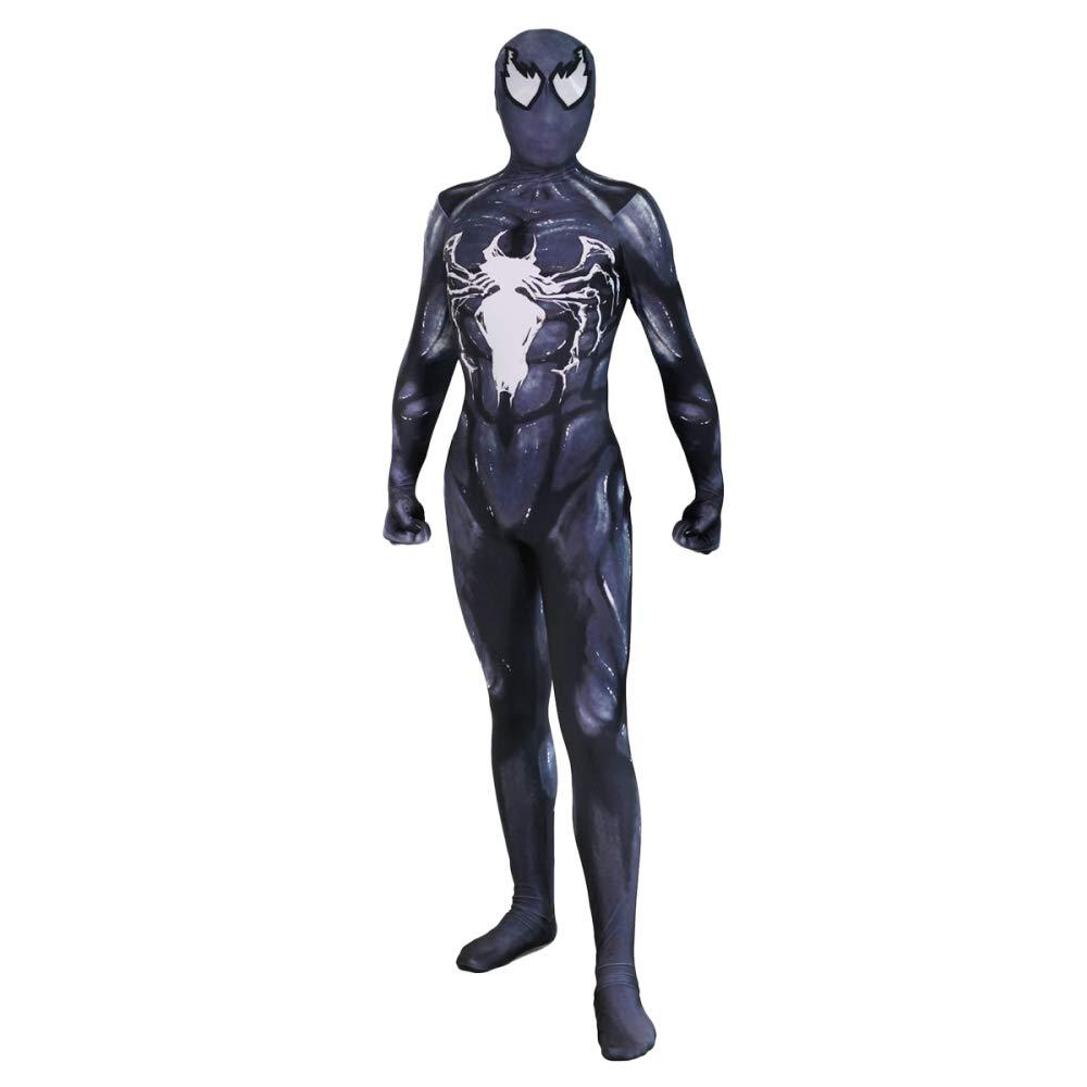 DSFGHE Spiderman Cosplay Costume Adulto Bambini Collant Siamesi Halloween Natale Masquerade Puntelli di Film,nero1-M