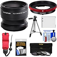 Olympus TCON-T01 Telephoto Converter Lens & CLA-T01 Adapter Ring Pack for Tough TG-3, TG-4 & TG-5 Camera with Li-90B Battery + Tripod + 3 Filters Kit