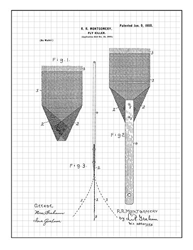 Fly Swatter Patent Print Art Poster Black Grid (5