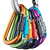 Rebecca 20pcs Colorful Aluminum Carabiner D-ring Key Chain Clip Climbing Hook for Home, Rv, Camping, Fishing, Hiking, Traveling and Keychain-- Random Color