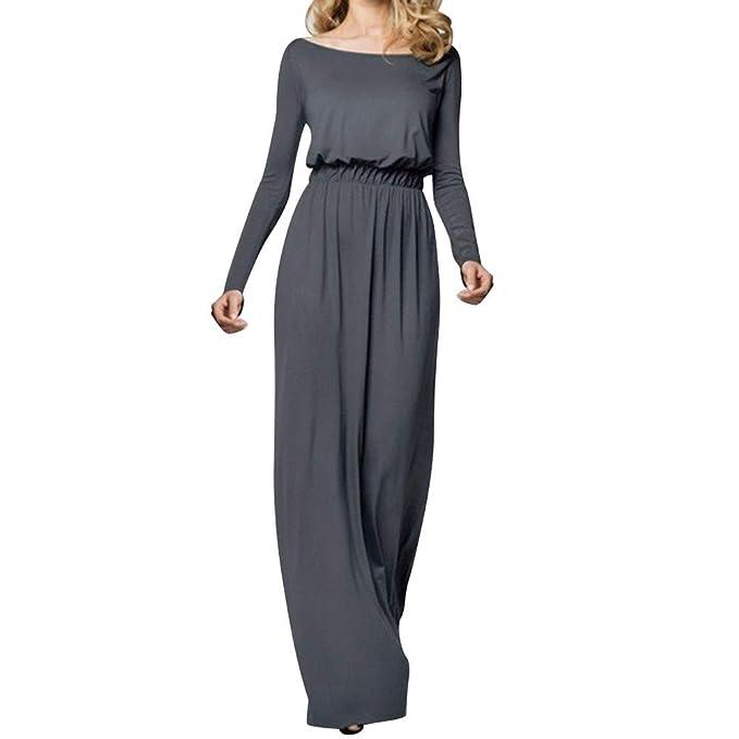 Vestido para Mujer Otoño,BBestseller Fiesta Vestir Ropa Falda Mujer Vestido Vestido de Manga Larga de sólido: Amazon.es: Ropa y accesorios
