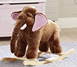 Plush Elephant Kid Rocker with Sturdy Wooden Frame and One-Touch Ear for Real Elephant Sounds