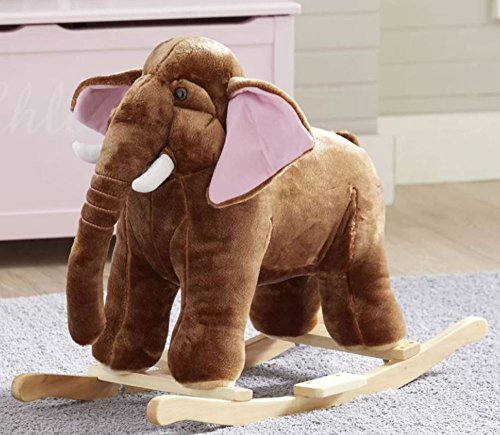 Plush Elephant Kid Rocker with Sturdy Wooden Frame and One-Touch Ear for Real Elephant Sounds by Birch Lane Kids
