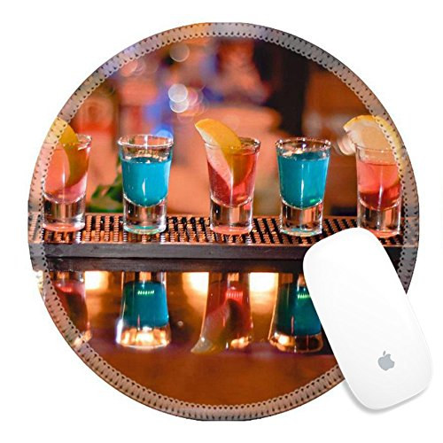 Luxlady Round Gaming Mousepad Row of shots on the bar tequila and blue curacao IMAGE ID 7989476
