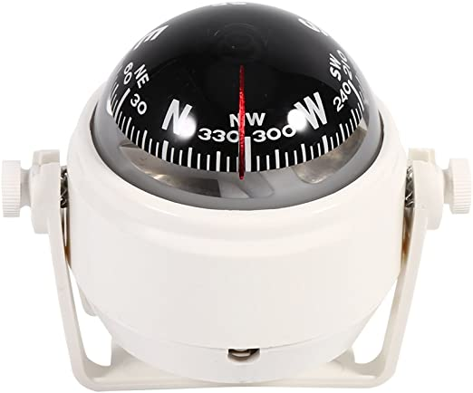 Color : White Car Compass,Boat Dashboard Navigation Marine Pivoting Compass Voyager Bracket Mount Compass