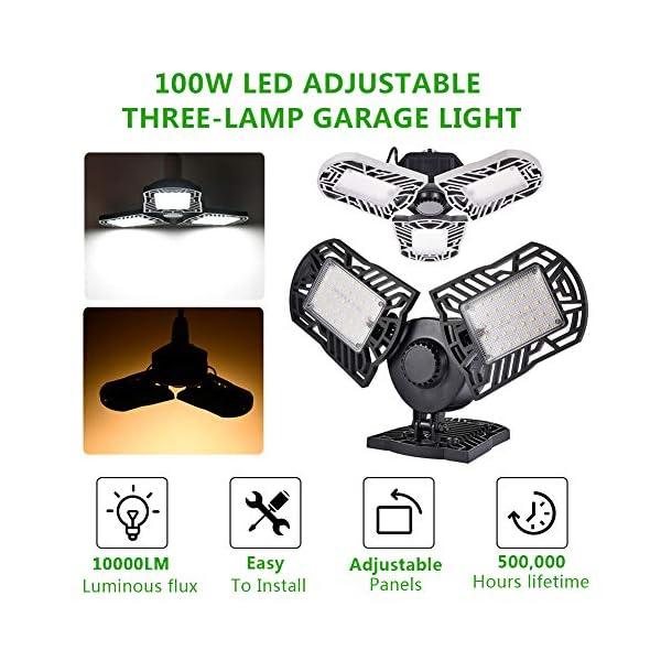 100W Deformable LED Garage Light Ceiling Light Factory Warehouse Industrial Lighting, 10000 Lumen IP65 Waterproof… 2