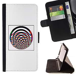 Momo Phone Case / Flip Funda de Cuero Case Cover - Líneas Cartel abstracto gris del rosa de ruedas - Apple Iphone 6