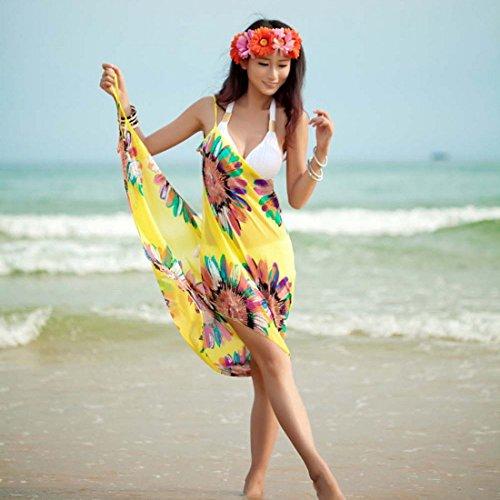 Vestito Swimwear Bikini Di Vestito Occultamento Estate Bagno Dello Della Del Di Giallo Pareo Di Avvolgere Donne Spiaggia Giallo Del Sarong qYBvxAFY