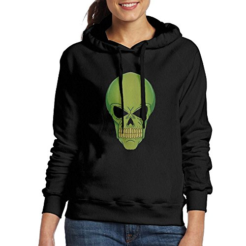 Green Alien Skull Colored Women's Hoodies