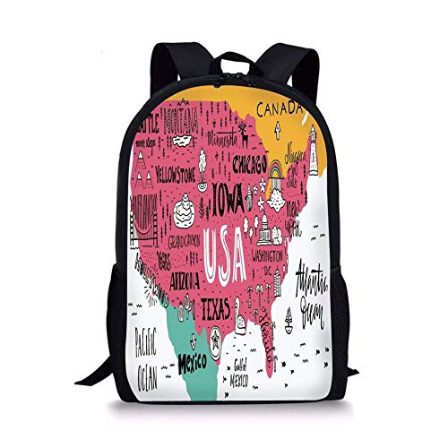 (School Bags USA Map,American Cities Calligraphy on Plan Arizona York Chicago Cartoon,Pink Marigold Teal White for Boys&Girls Mens Sport)
