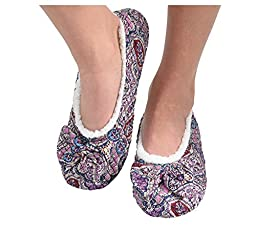 Snoozies Womens Quilted Ballerina Comfort Split Slipper Socks - Purple, Medium