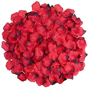 obmwang 2000 PCS Dark Silk Rose Petals Wedding Flower Decoration 59