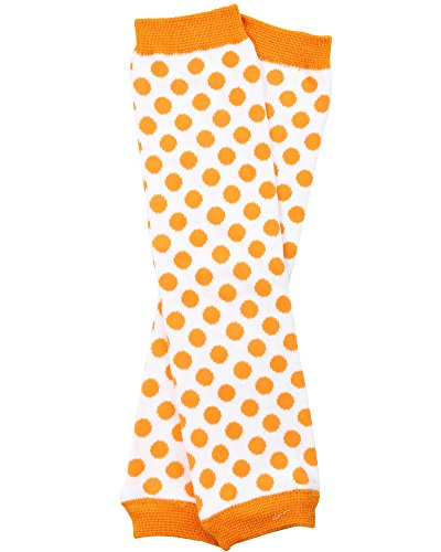 Halloween baby & toddler Leg Warmers for Girls & Boys in various styles (Newborn (up to 12 pounds), White with Orange -