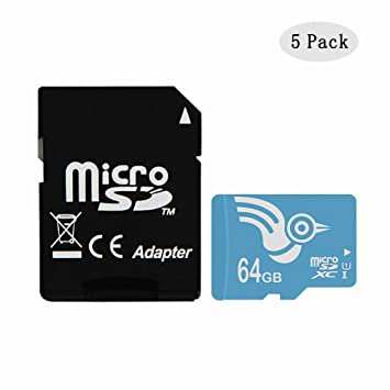 ADROITLARK High Speed 64gb Micro SD Card Class 10 5 Pack Micro SD Memory Card for GoPro/Camera/Mobile Phones/Tablet with Adapter(U1 64GB-5Pack)