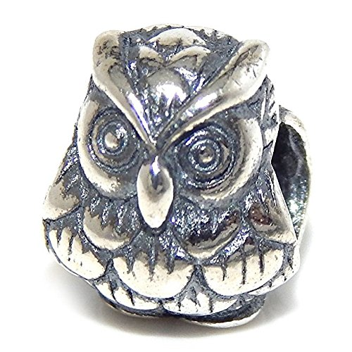 "Solid 925 Sterling Silver ""3D Owl"" Charm Bead"