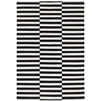 Ikea Rug, flatwoven, black handmade stripe, off-white stripe black/off-white 5  7 x7  10  1824.21426.2610