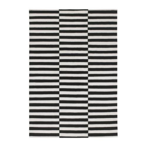 Ikea Rug, flatwoven, black handmade stripe, off-white stripe black/off-white 5 ' 7 ''x7 ' 10 '' 1824.21426.2610 by Ikea