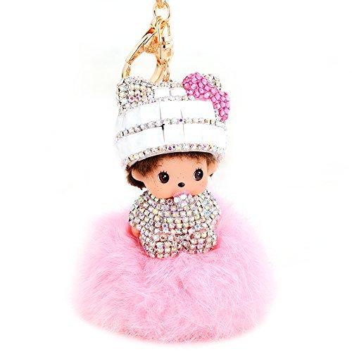 - EASYA Cute Crystal Rhinestone Keychain Handcrafted Ball Fur Keychain Pompoms Key Chain for Women(Pink+White)