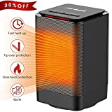 Zerhunt Electric Portable Space Desk Office and Home Room Indoor Use,Small but Powerful 950W Personal PTC Ceramic Heater with Safety Tip-Over & Overheat Protection, Black