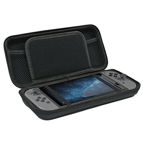 Newkiton Carry Case for Nintendo Switch with 8 Game Cartridge Holders and Inner Pockets Protective Hard Shell Travel Carrying Pouch Compatible with Nintendo Switch Console & Accessories (Black)