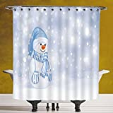 Stylish Shower Curtain 3.0 by SCOCICI [ Winter,Kids Toddler Design Happy Snowman Cartoon Style Figure Merry Christmas Theme Decorative, ] Waterproof Polyester Fabric Decorative Bath Curtain Designs