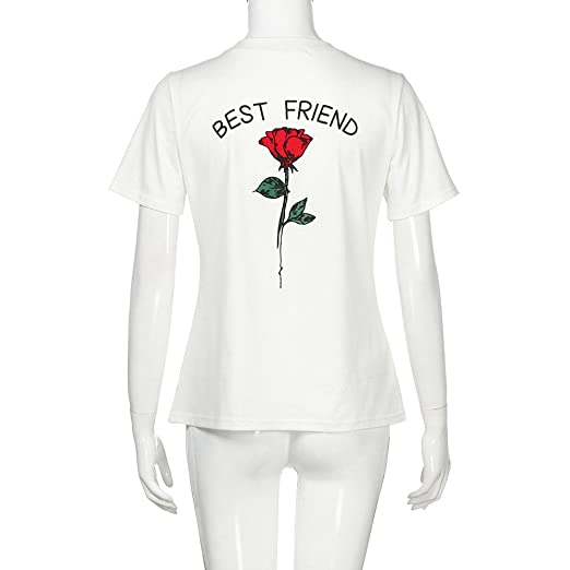 e0ac5f947 Image Unavailable. Image not available for. Color: KaiCran Women Best Friend  Letters Rose Printed T Shirts ...