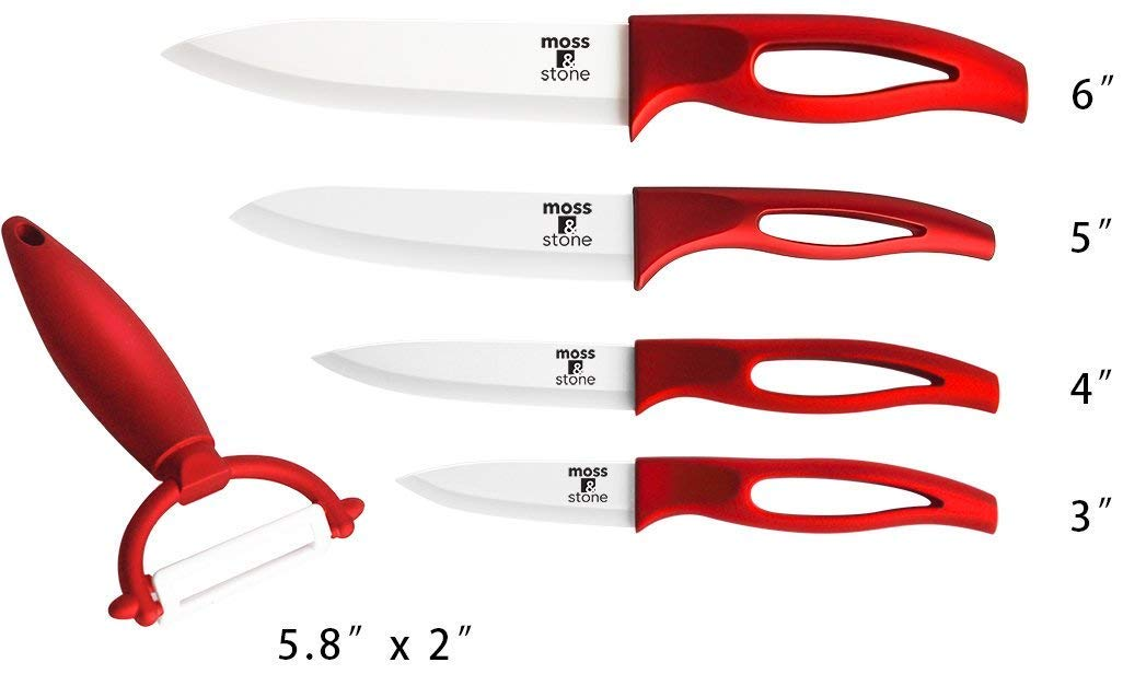 Ceramic Knife Set and Fruit Peeler Rust Proof And Stain Resistant, Kitchen cooking knife set With Nice Gift Box (5 pieces) By Moss & Stone by Moss & Stone