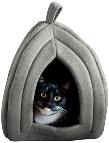 Cheap Cat Pet Bed, Igloo- Soft Indoor Enclosed Covered Tent/House for Cats, Kittens, and Small Pets with Removable Cushion Pad by PETMAKER (Grey)
