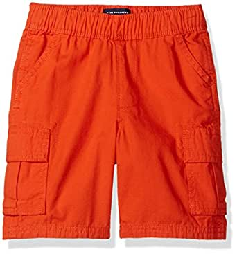 The Children's Place Boys' Pull-On Cargo Short, Flame, 9-12 Months