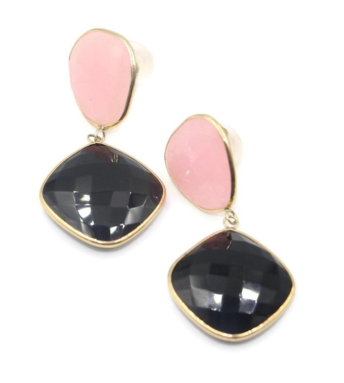 Chalcedony Pink & Onyx Dangle Earrings,14K Yellow Gold & Silicon Backs