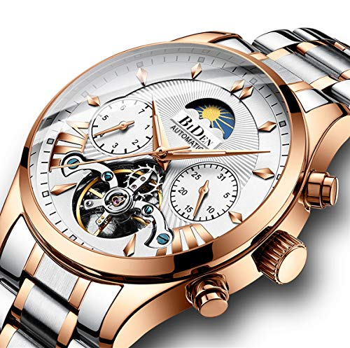Watches, Men's Watch, Luxury Business Automatic Mechanical Skeleton Stainless Steel Calendar Flywheel Roman Numeral Moon Phase Waterproof Wrist Watch Gold White