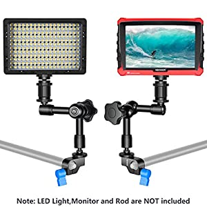 Neewer Aluminum Alloy Articulating Magic Arm - 7 Inches/ 17.78 Centimeters, with 15mm Rod Clamp for Mounting LED light, Monitor, Flash to DSLR Camera or DSLR Movie Rig