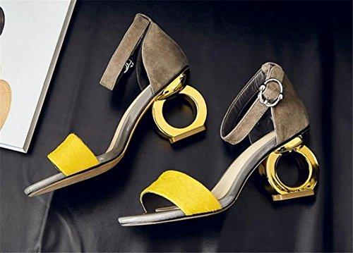 YEEY Mujeres de verano sandalias de cuero de punta abierta zapatos de tacón de fiesta cómodo banquete Club Yellow