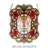 HF-238 Pastoral Vintage Tiffany Style Stained Glass Church Art Noble Flowers Window Hanging Glass Panel Suncatcher, 24''x18''