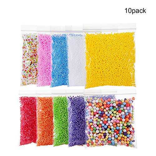 (Foam Balls for Slime, Colorful Styrofoam Balls Beads, Decorative Ball Arts DIY Crafts Supplies for Homemade Slime, Kid's Craft, Wedding and Party Decoration)