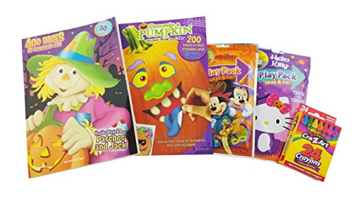 Halloween Bundle Gift for Kids | 5 Items Coloring Books, Play Packs and Pumpkin Stickers