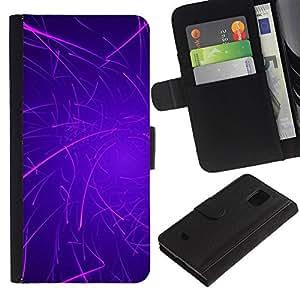 LASTONE PHONE CASE / Lujo Billetera de Cuero Caso del tirón Titular de la tarjeta Flip Carcasa Funda para Samsung Galaxy S5 Mini, SM-G800, NOT S5 REGULAR! / Purple Lines Rave Glow Stick