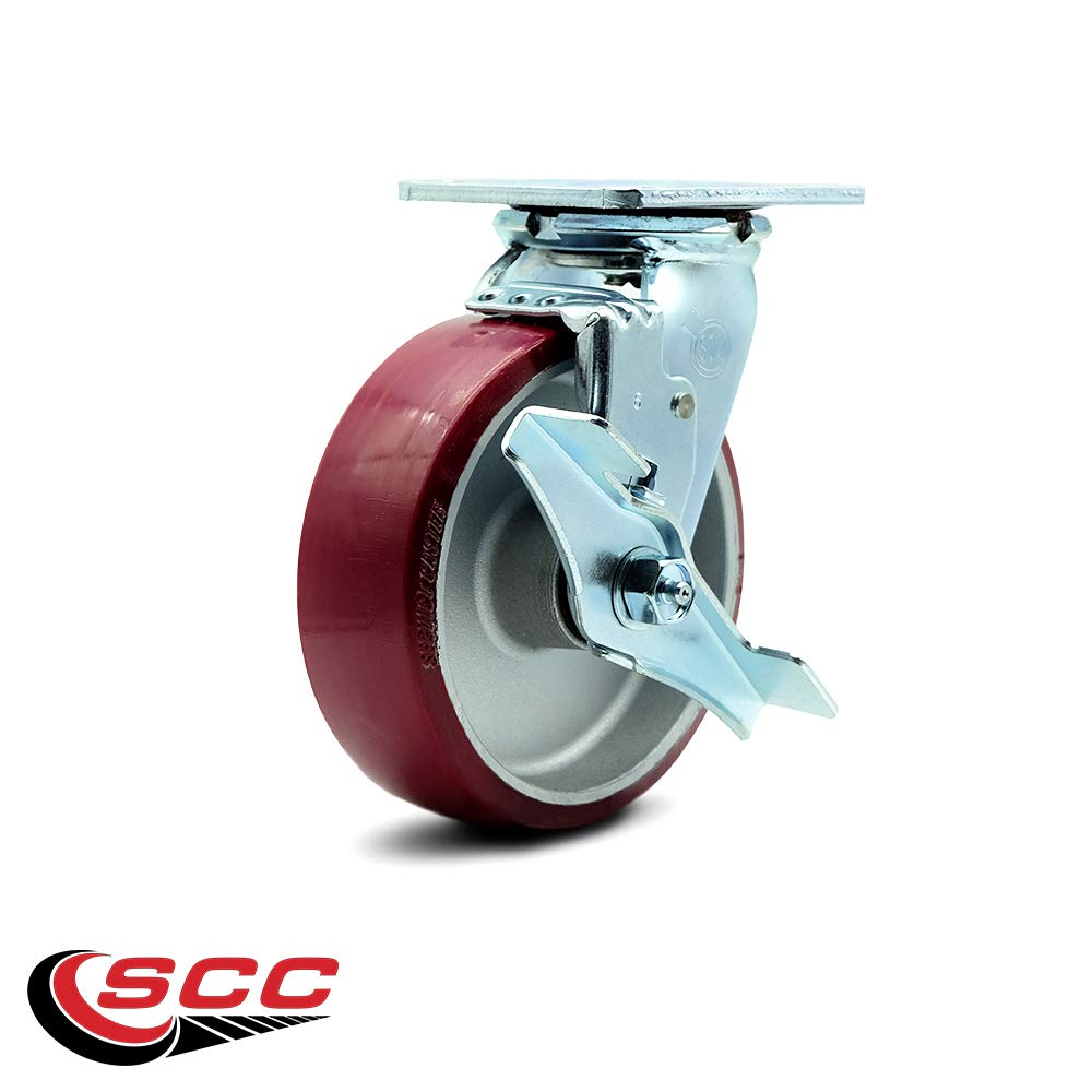Service Caster - 6'' x 2'' Polyurethane on Aluminum Wheel Swivel Caster w/Brake - 1,200lbs/Caster