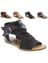 Flat Sandal for Women Canvas Criss Cross Leather Strap Side Zipper Peep Toe Wedge Summer Shoes