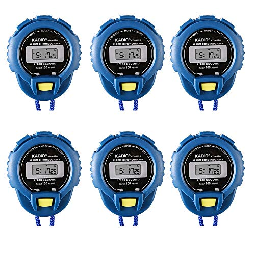 Pgzsy 6 Pack Multi-Function Electronic Sport Stopwatch Timer, Large Display with Date Time and Alarm Function,Suitable for Sports Coaches Fitness Coaches and Referees