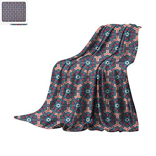 Traditional Super Soft Lightweight Blanket Moroccan Mosaic Tiles Hexagonal Ornamental Victorian Ceramic Style Baroque Custom Design Cozy Flannel Blanket 60