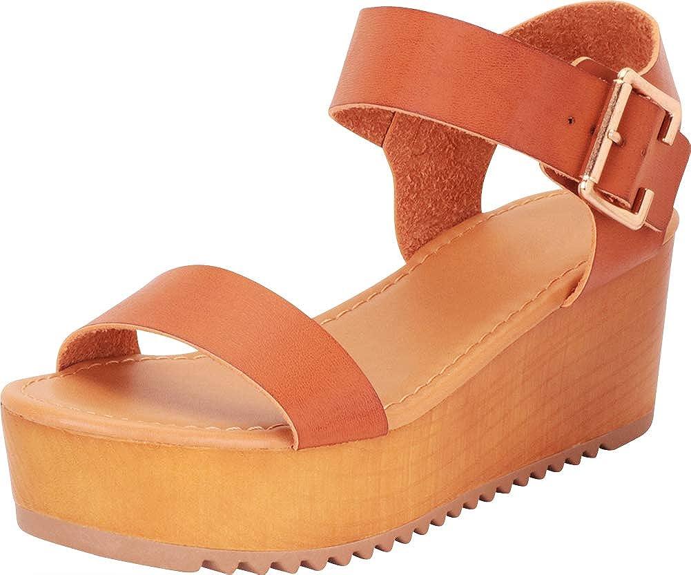 Tan Pu Cambridge Select Women's Open Toe Retro 70s Chunky Flatform Sandal