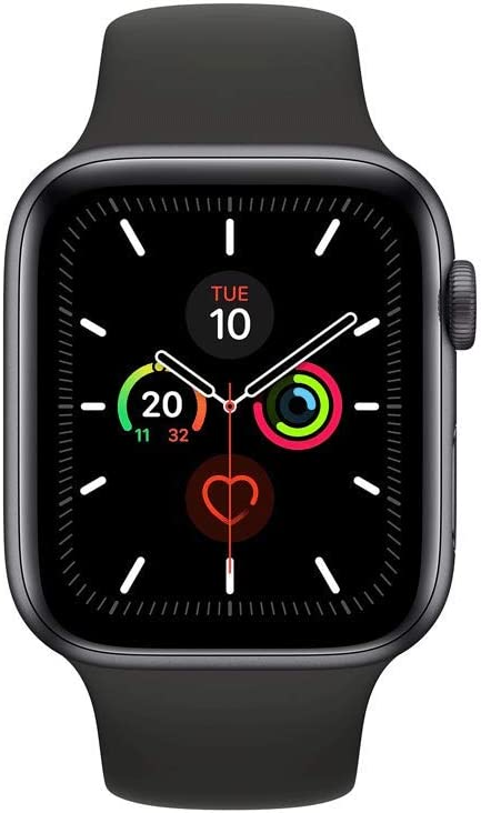 ساعة ابل سيريز 5-44 ملم بهيكل من الالمنيوم لون رمادي وسوار رياضي لون اسود - مقاس S/M و M/L، جي بي اس، ووتش او اس 6 - MWVF2AE/A